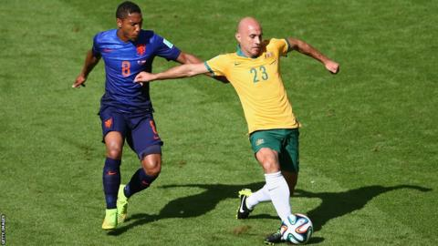 Jonathan de Guzman, who was on loan at Swansea City this season, in action for the Netherlands in their 3-2 Group B win against Australia at the World Cup in Brazil.