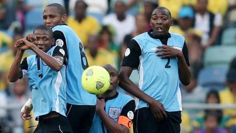 Botswana team in action in a World Cup qualifier
