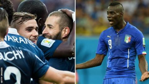 France celebrate and Mario Balotelli protests