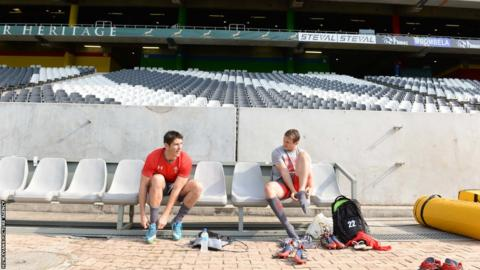 James Hook and Dan Biggar get ready for Wales' final training session at the Mbombela Stadium in Nelspruit ahead of Saturday's second Test against South Africa.
