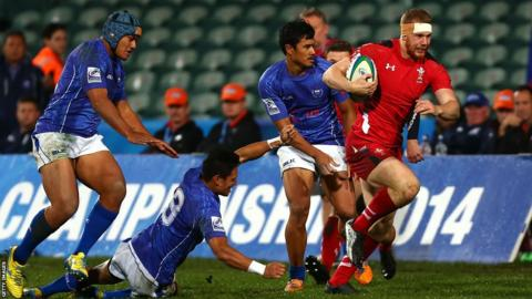 Jack Dixon makes a break during Wales U20s seventh place play-off victory over Samoa at the IRB Junior World Championship in New Zealand.