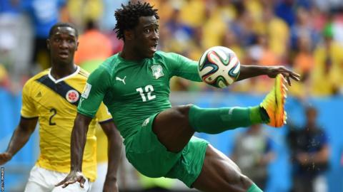 Swansea City striker Wilfried Bony in action for Ivory Coast against Columbia at the 2015 World Cup in Brazil.
