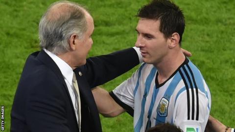Alejandro Sabella and Lionel Messi