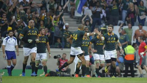 South Africa players celebrate Wille Le Roux's late try, which reduced Wales' advantage to eight points.