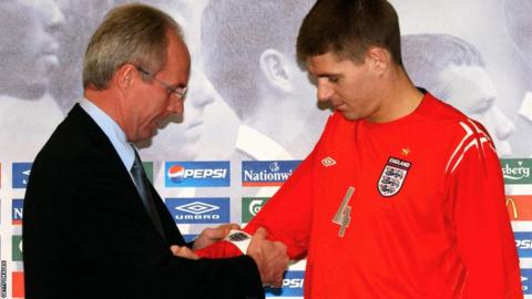 Sven Goran Eriksson puts the captain's armband on Steven Gerrard for the first time during a press conference on the eve of the friendly match against Sweden in Gothenburg in 2004