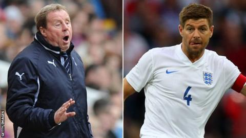 Harry Redknapp managing Tottenham and Steven Gerrard playing for England