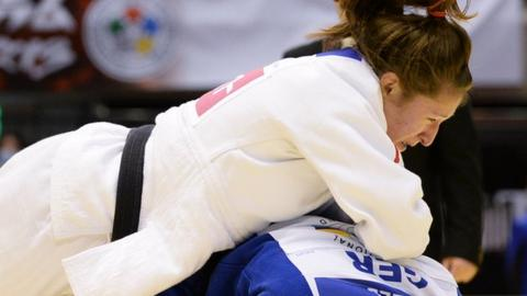 Natalie Powell of Wales competing for Great Britain at judo