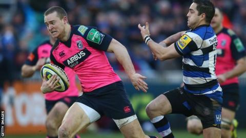 Owen Williams runs with the ball for the Blues in the LV= Cup.
