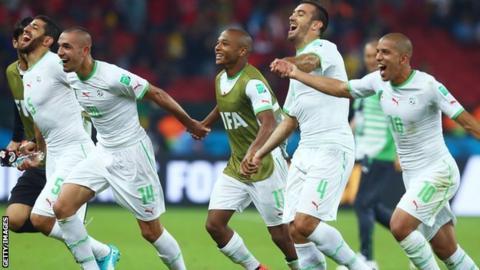 Algeria celebrate their win over South Korea
