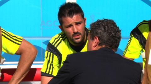 Subbed David Villa cries after final Spain game