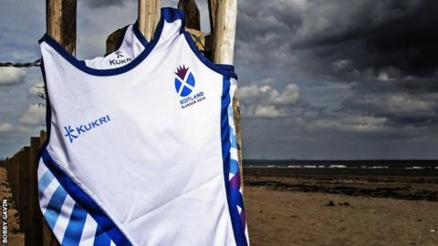 The athletics vest to be worn by Team Scotland at Glasgow 2014