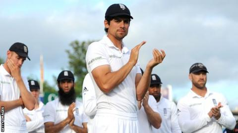 England captain Alastair Cook (centre) after the defeat against Sri Lanka at Headingley