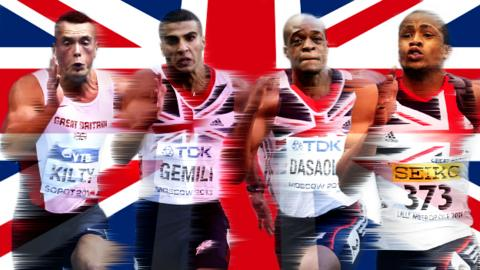 (From left to right) Richard Kilty, Adam Gemili, James Dasaolu and Chijindu Ujah