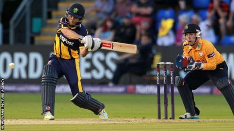 Mark Wallace of Glamorgan in batting action against Hampshire