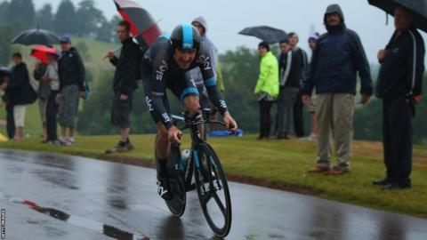Geraint Thomas finishes second behind Sir Bradley Wiggins in Thursday's British road time trial at Celtic Manor