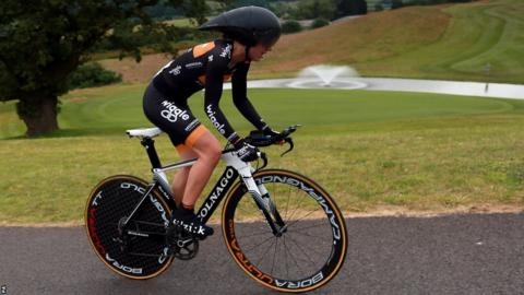 Elinor Barker finishes fourth in Thursday's women's British road time trial at Celtic Manor
