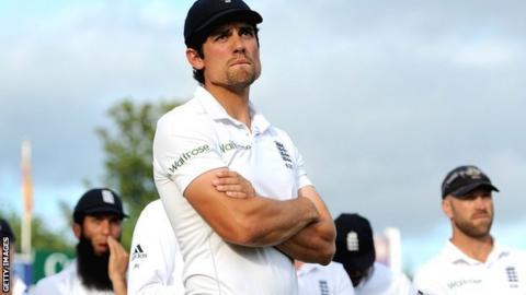 England captain Alastair Cook (centre) after the defeat against Sri Lanka at Headingley