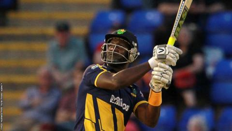 West Indies all-rounder Darren Sammy makes 28 off 14 balls in his last match for Glamorgan against Hampshire in their T20 Blast defeat at the Swalec Stadium