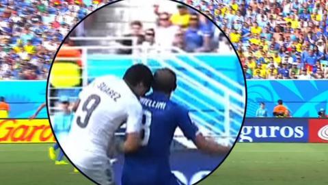 World Cup 2014: Luis Suarez bites Giorgio Chiellini