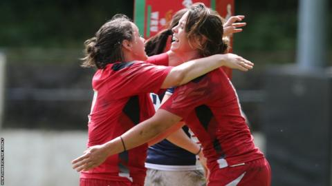 Wales Womens Sioned Harries (right) celebrates with team-mate Lowri Harries after scoring a try during their World Cup warm-up defeat against USA Eagles