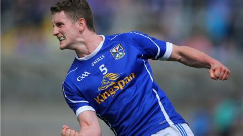 Cavan defender Joshua Hayes celebrates scoring a point in the 1-15 to 1-14 win over Westmeath