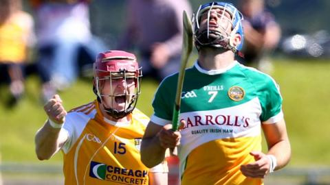 It's celebration time for Antrim forward PJ O'Connell during the All-Ireland SHC qualifier with Offaly at Ballycastle