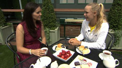Wimbledon 2014: Laura Robson meets Caroline Wozniacki for tea