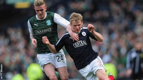 Stephen Kingsley of Falkirk battles with Daniel Handling of Hibernian