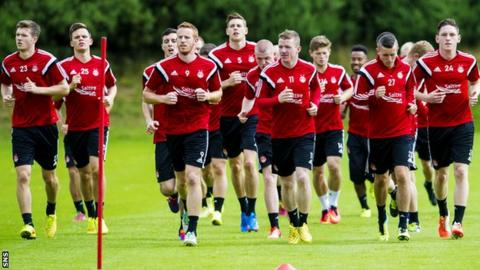 The Aberdeen squad prepare for the game with Daugava Riga