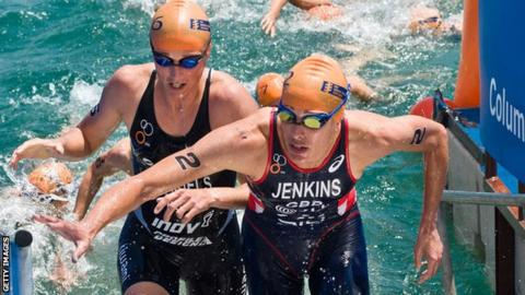 Helen Jenkins emerges from the water during the Chicago triathlon