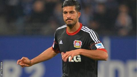 Emre Can playing for Bayer Leverkusen