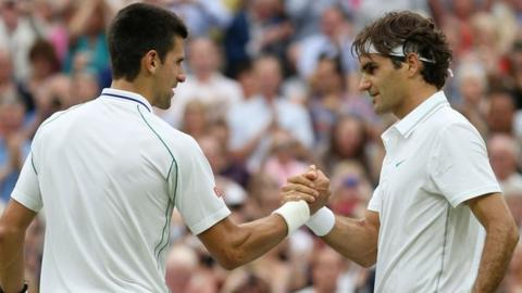 Novak Djokovic and Roger Federer at Wimbledon