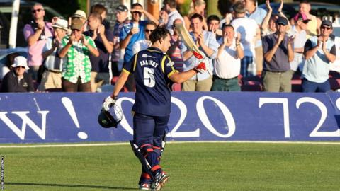 Glamorgan's Jim Allenby gets a standing ovation after scoring 105 in the T20 Blast against Middlesex in Richmond.