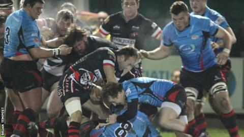 Jersey in action against Cornish Pirates
