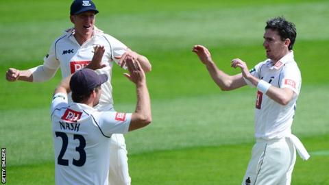 Steve Magoffin takes a wicket