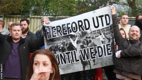 Hereford United fans at Aldershot