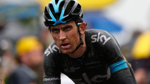 Team Sky's Geraint Thomas crosses the finishing line after a tough fifth stage of the Tour de France.