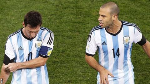 Argentina forward Lionel Messi (left) and midfielder Javier Mascherano