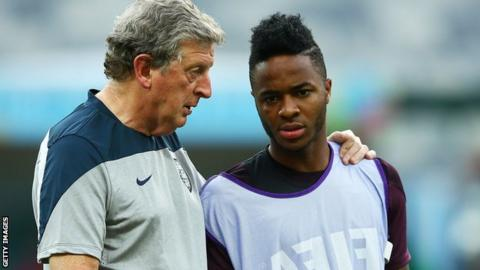 England manager Roy Hodgson and Raheem Sterling