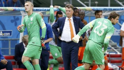 Goalkeeper Tim Krul (23) of the Netherlands goes on for team mate Jasper Cillessen during extra time in their 2014 World Cup quarter-finals against Costa Rica at the Fonte Nova arena in Salvador