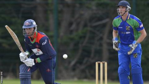 James Shannon of the Northern Knights attempts a reverse sweep against the North West Warriors last month