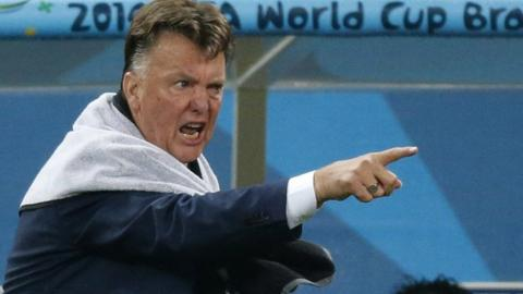 Louis van Gaal shouts orders to his Dutch team from the touchline