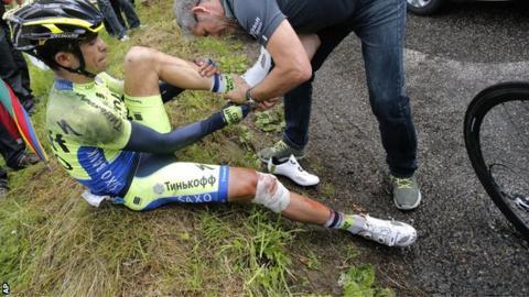 Alberto Contador was injured at the Tour de France