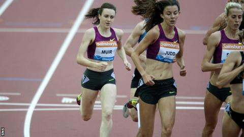 Laura Muir competed in the womens 800m at Hampden
