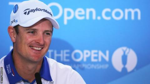 Justin Rose talking at a press conference before The Open