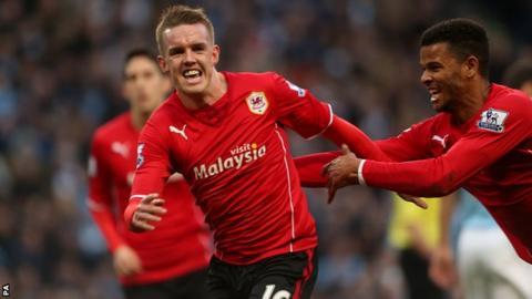 Cardiff City's Craig Noone celebrates scoring his team's opening goal against Manchester City last season