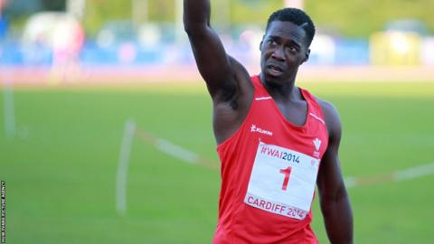 Christian Malcolm acknowledges spectators at the Welsh Athletics International at Cardiff Athletics Stadium – his final race in Wales before retirement.