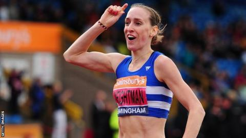 Laura Weightman celebrates as she crosses the line to win the 2014 British Championships