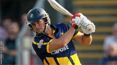 Jim Allenby in action during Glamorgan's seven-wicket defeat by Essex