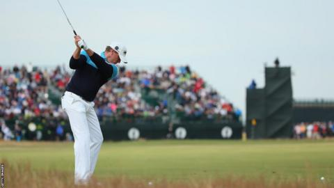 Jamie Donaldson playing the third hole as he fails to make the cut following his second round of the Open Championship at Hoylake